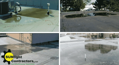 ponding on commercial rooms solution by sunlight contractors commercial roofing solutions